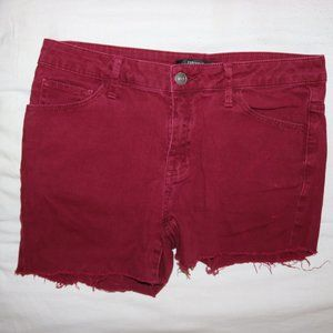 FOREVER 21 Burgundy Cut Off Jean Shorts Length 11